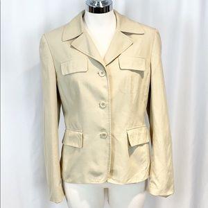 Loft Silk Blend Khaki Pocket Blazer 8